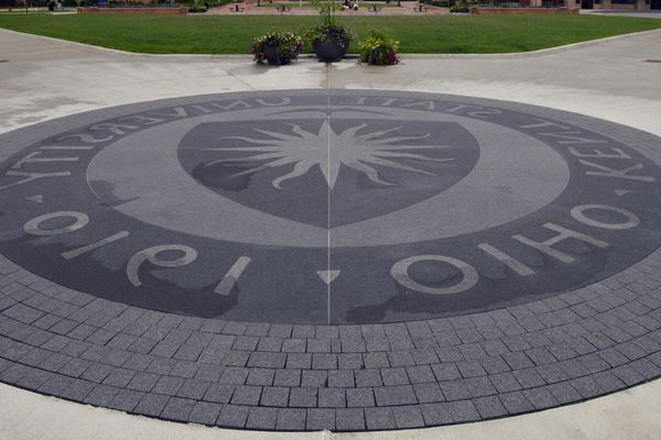 Kent State seal by library