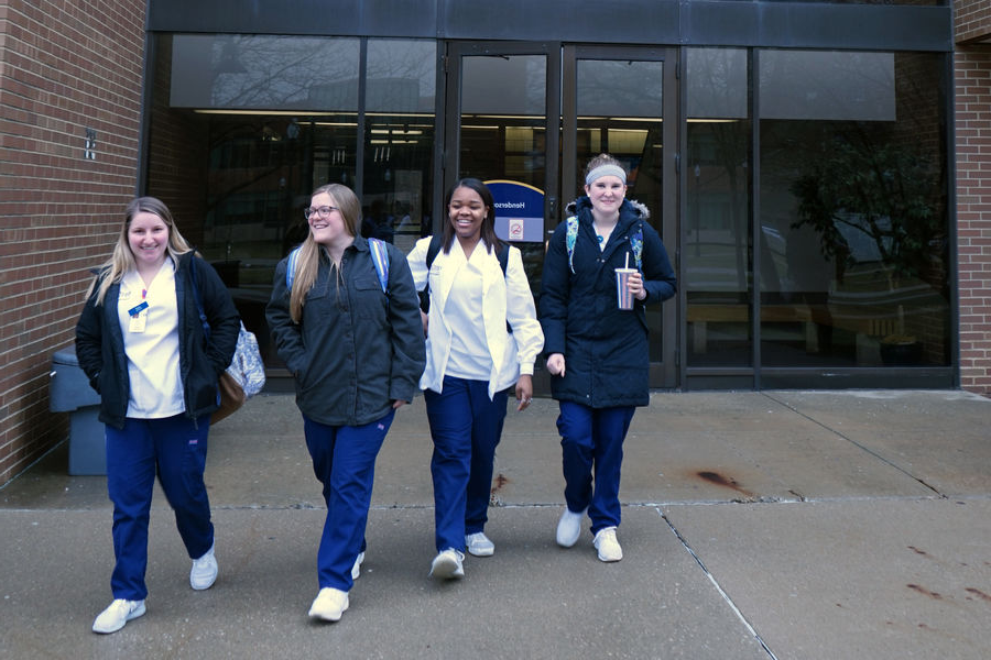 Kent State nursing students leave Henderson Hall after class