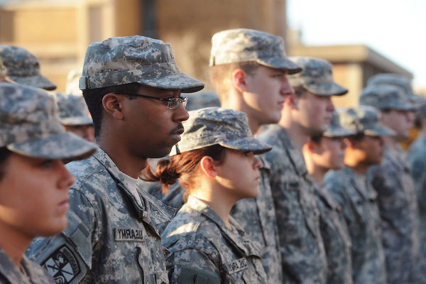 ROTC members standing at attention
