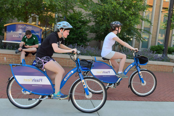 students biking